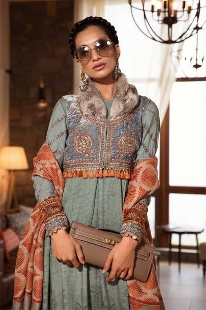 MARIA B LUXURY LINEN COLLECTION 2019 DL-708-Dull Teal 08.03