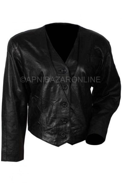 Women Black Classic Genuine Leather Jacket DWLJ-04