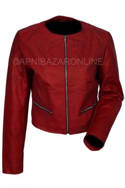 Women Wine Red Genuine Leather Jacket DWLJ-03