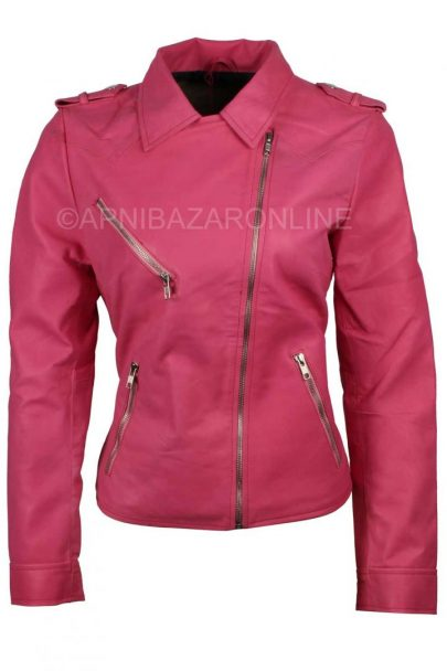 Women Pink Leather Jacket DWLJ-02
