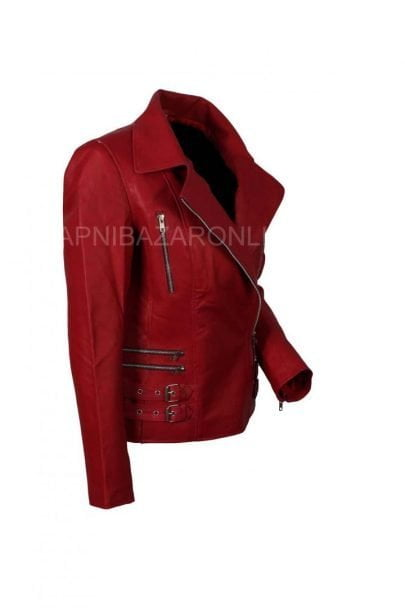 Women Ruby Red Genuine Leather Jacket DWLJ-01