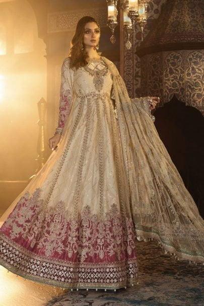 Maria B Unstitched 3Pcs Net Mbroidered Wedding Edition 2019 - Ivory and Ashrose MBWE19-1801