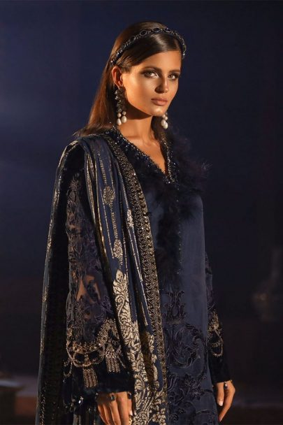Maria B Unstitched 3Pcs Velvet Mbroidered Wedding Edition 2019 - Deep Sapphire Blue MBWE19-1803