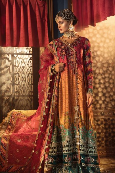 Maria B Unstitched 3Pcs Net Mbroidered Wedding Edition 2019 - Ombre hot Pink and Tangerine MBWE19-1804