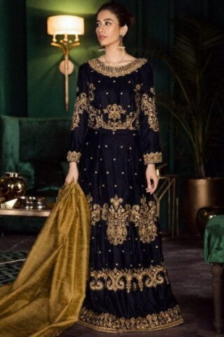 Iznik Luxury Velvet Unstitched 3 Pcs Collection 2020 - Winter Collection ILV-05 Midnight