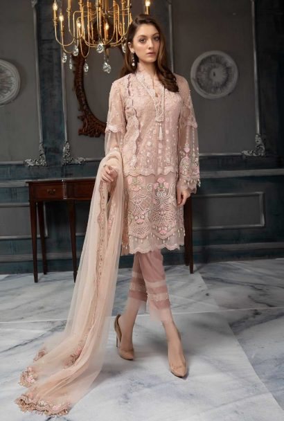 Aayra Luxury Embroidered Net Unstitched 3pcs Suit 2019 ACV319 D3 Peach