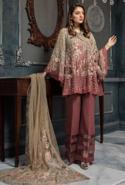 Aayra Luxury Embroidered Organza Unstitched 3pcs Suit 2019 ACV319 D6 Plum