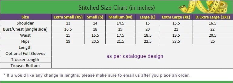 Women's Cloth size chart