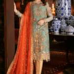 Imrozia Embroidered Chiffon Unstitched 3pcs Suit 2020 Collection IMPC20 102 Aqua Juwel