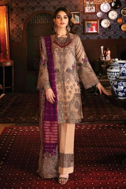 Imrozia Embroidered Chiffon Unstitched 3pcs Suit 2020 Collection IMPC20 103 Bronze Masquerade
