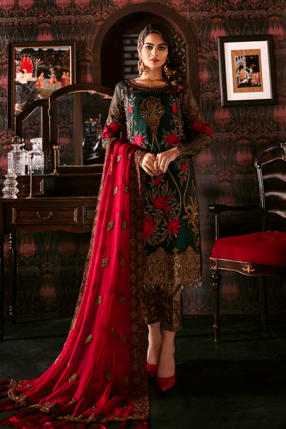 Imrozia Embroidered Chiffon Unstitched 3pcs Suit 2020 Collection IMPC20 106 Magnifique Jade