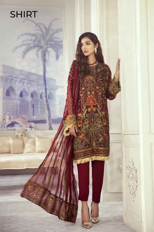Iznik Embroidered Chiffon Imperial Dreams Unstitched 3 Piece Suit ID-04 2020