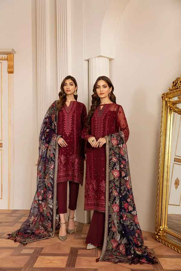 Baroque Chantelle Embroidered Chiffon Unstitched 3 Piece Suit BC20-06 2020 Luxury Collection