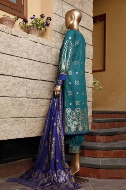Moosa Jee Banarsi Block Printed Unstitched 3 Piece Suit 2020 108B