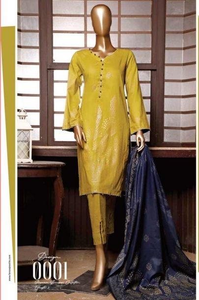Moosa Jee Banarsi Block Printed Unstitched 3 Piece Suit 2020 110A