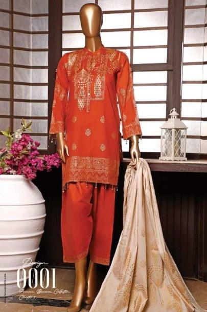 Moosa Jee Banarsi Block Printed Unstitched 3 Piece Suit 2020 110B