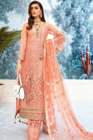Nureh by Riaz Arts Embroidered Net Unstitched 3 Piece Suit 2020 03