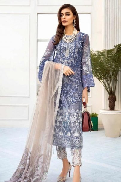 Nureh by Riaz Arts Embroidered Chiffon Unstitched 3 Piece Suit 2020 05