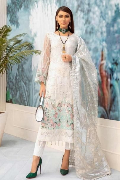 Nureh by Riaz Arts Embroidered Chiffon Unstitched 3 Piece Suit 2020 06