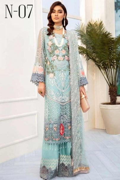 Nureh by Riaz Arts Embroidered Chiffon Unstitched 3 Piece Suit 2020 07