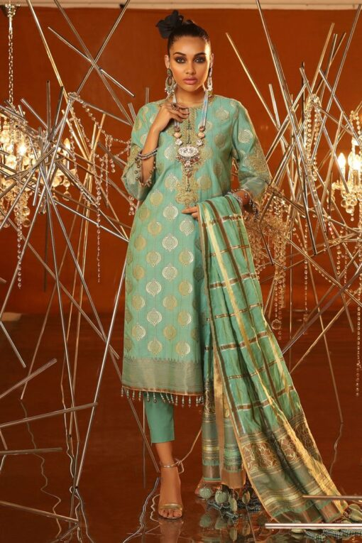 Al Karam Embroidered Jacquard Unstitched 3 Piece Suit AKF20-01A FEROZI – Festive Collection