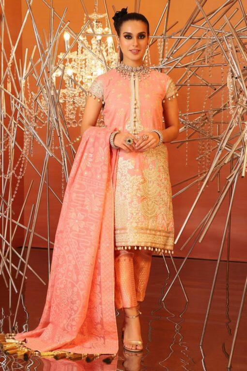 Al Karam Embroidered Cotton Silk Unstitched 2 Piece Suit AKF20-18H PEACH – Festive Collection