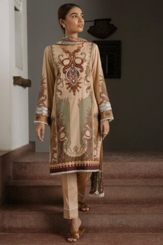 Qalamkar Qline Luxury Lawn Unstitched 3 Piece Suit QQL20-05 - Lawn Collection