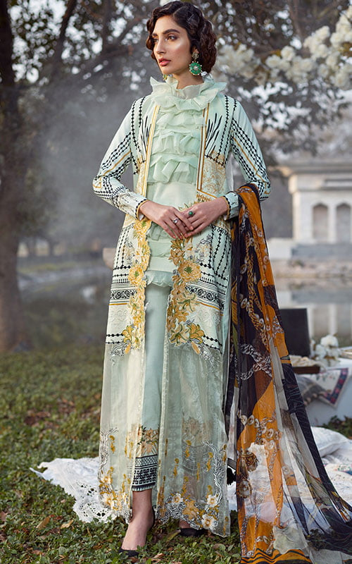 Asifa Nabeel Luxury Lawn Unstitched 3 Piece Suit ANL20-13-D – Summer Collection