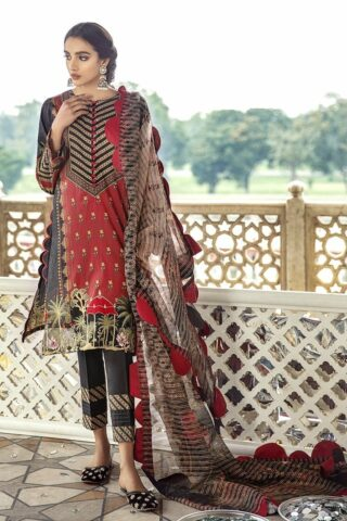 Sheesh Mahal by Cross Stitch Embroidered Lawn Unstitched 3 Piece Suit CSL20 06 Carmine Folk - Lawn Collection