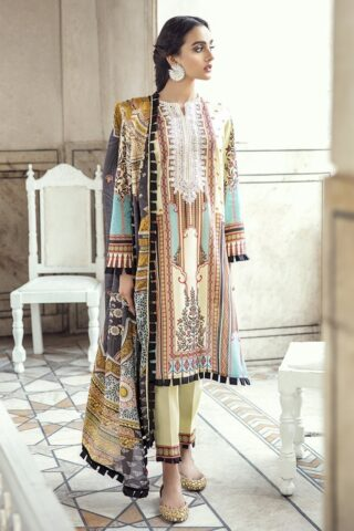 Sheesh Mahal by Cross Stitch Embroidered Lawn Unstitched 3 Piece Suit CSL20 09 Sublime Beige - Lawn Collection