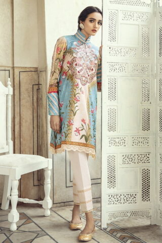 Sheesh Mahal by Cross Stitch Embroidered Lawn Unstitched 2 Piece Suit CSL20 24 Demasque Sky – Lawn Collection