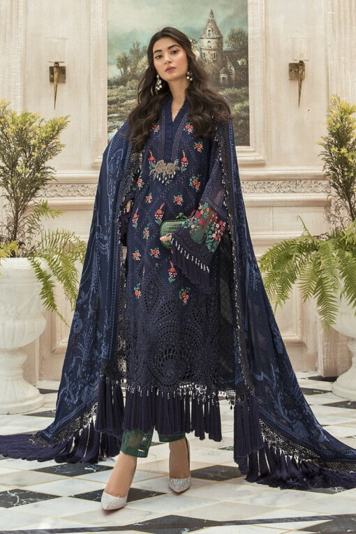 Maria B Embroidered Chiffon Unstitched 3 Piece Suit Navy Blue MBMD20-1901 – Luxury Collection