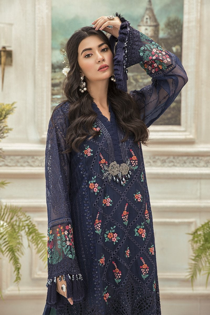 Maria B Embroidered Chiffon Unstitched 3 Piece Suit Navy Blue MBMD20-1901 - Luxury Collection