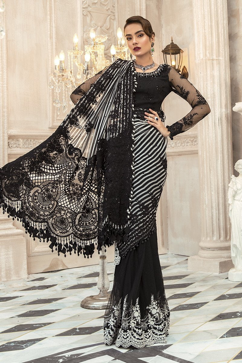 Maria B Embroidered Chiffon Unstitched 3 Piece Suit Black MBMD20-1903 - Luxury Collection
