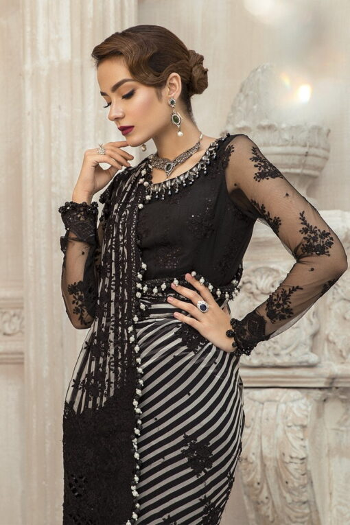 Maria B Embroidered Chiffon Unstitched 3 Piece Suit Black MBMD20-1903 – Luxury Collection