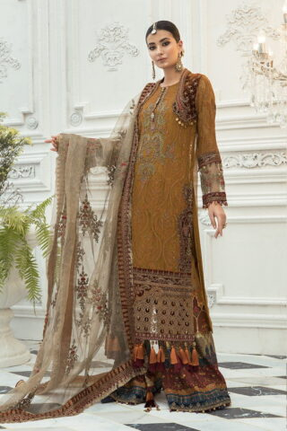Maria B Embroidered Chiffon Unstitched 3 Piece Suit Rust MBMD20-1906 - Luxury Collection