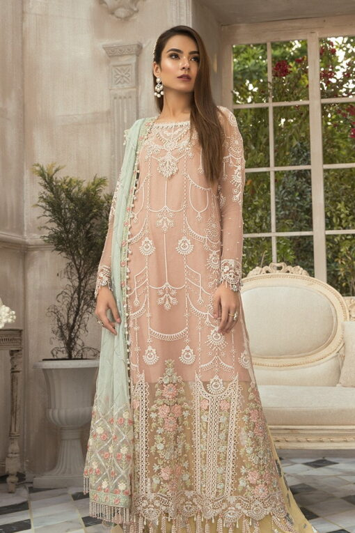 Maria B Embroidered Chiffon Unstitched 3 Piece Suit Pink MBMD20-1907 – Luxury Collection