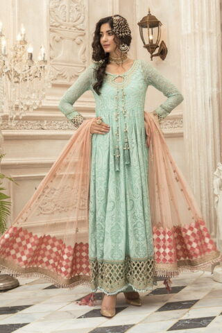 Maria B Embroidered Chiffon Unstitched 3 Piece Suit Sea Green MBMD20-1908 - Luxury Collection