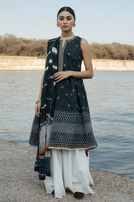 Zara Shahjahan Luxury Embroidered Lawn Unstitched 3 Piece Suit ZSL20 BANSURI-A – Summer Collection