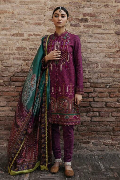 Zara Shahjahan Luxury Embroidered Lawn Unstitched 3 Piece Suit ZSL20 GULBADAN-A – Summer Collection