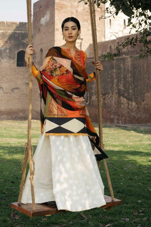 Zara Shahjahan Luxury Embroidered Lawn Unstitched 3 Piece Suit ZSL20 BANSURI-B – Summer Collection