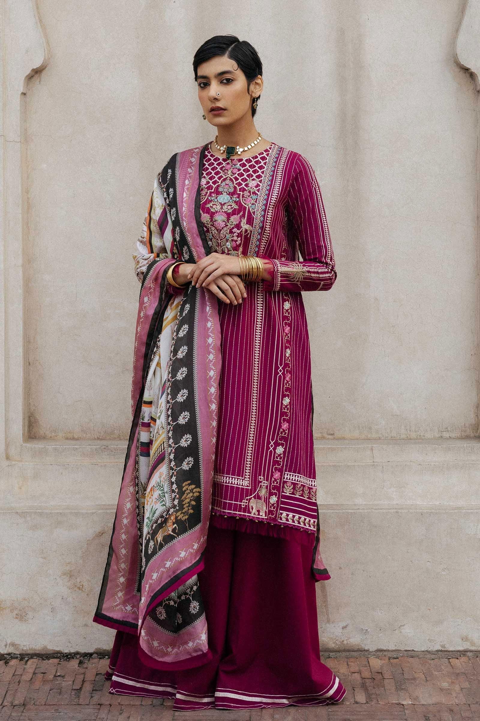 Zara Shahjahan Luxury Embroidered Lawn Unstitched 3 Piece Suit ZSL20 ZEENAT-B - Summer Collection