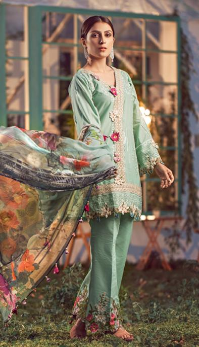 Elaf Luxury Embroidered Lawn Unstitched 3 Piece Suit EFLL20-03 – Summer Collection