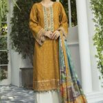 Maria B Embroidered Lawn Unstitched 3 Piece Suit MBEL20 04 Mustard and Teal - Lawn Collection