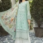 Maria B Embroidered Jacquard Unstitched 3 Piece Suit MBEL20 08 Pastel Aqua - Lawn Collection