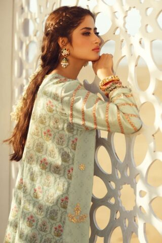Qalamkar Luxury Festive Lawn Unstitched 3 Piece Suit QFL20-03 - Summer Collection