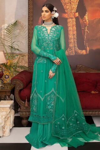 Mushq Embroidered Chiffon Unstitched 3 Piece Suit MQFC20 9 CELESTE - Luxury Collection