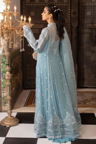 Mushq Embroidered Chiffon Unstitched 3 Piece Suit MQFC20 1 ICE CASCADE - Luxury Collection