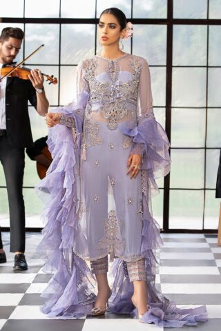 Mushq Embroidered Chiffon Unstitched 3 Piece Suit MQFC20 4 LAVENDER HAZE - Luxury Collection
