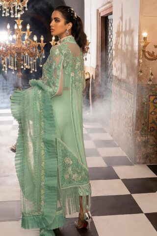 Mushq Embroidered Chiffon Unstitched 3 Piece Suit MQFC20 8 MINT MELODY - Luxury Collection